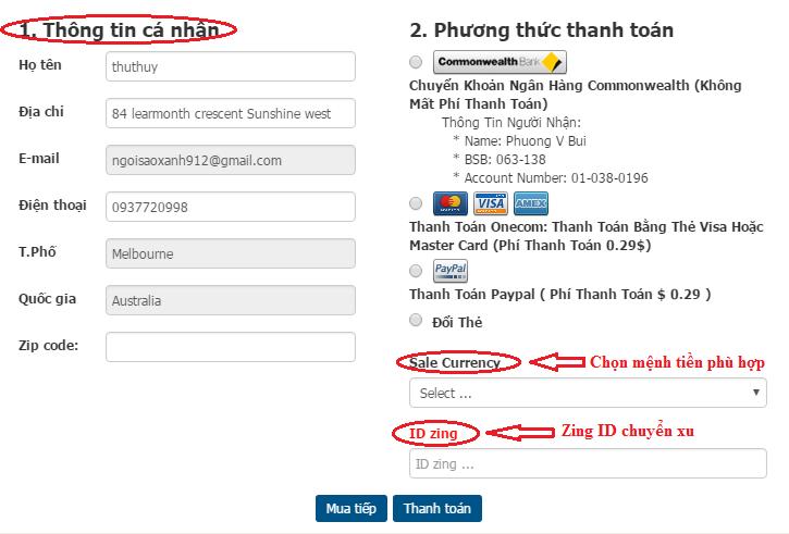 Cách mua thẻ điện thoại qua Paypal hoặc Visa, Mastercard