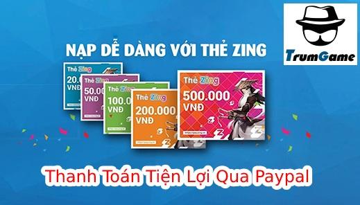 Mua Thẻ Zing Online Bằng Paypal