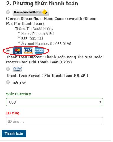 Mua thẻ zing  - zing xu qua Visa hay Mastercard