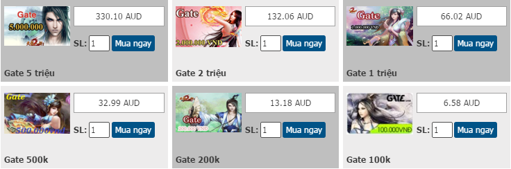 Mua thẻ Gate online bằng Visa hay Mastercard