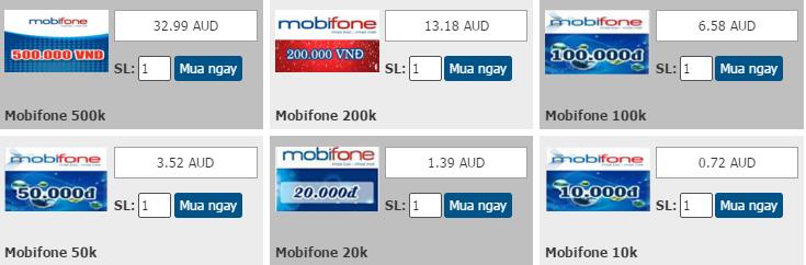 Cách mua thẻ mobifone bằng Paypal