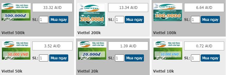 Mua thẻ Viettel siêu rẻ qua Paypal