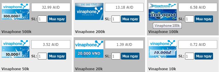 Nạp thẻ vinaphone qua Visa hay Mastercard