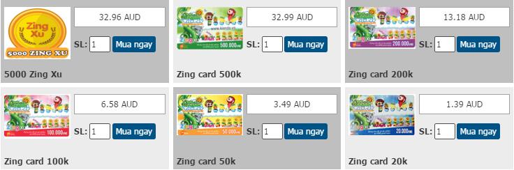 Nạp zing card - zing xu đơn giản qua Visa hay Mastercard